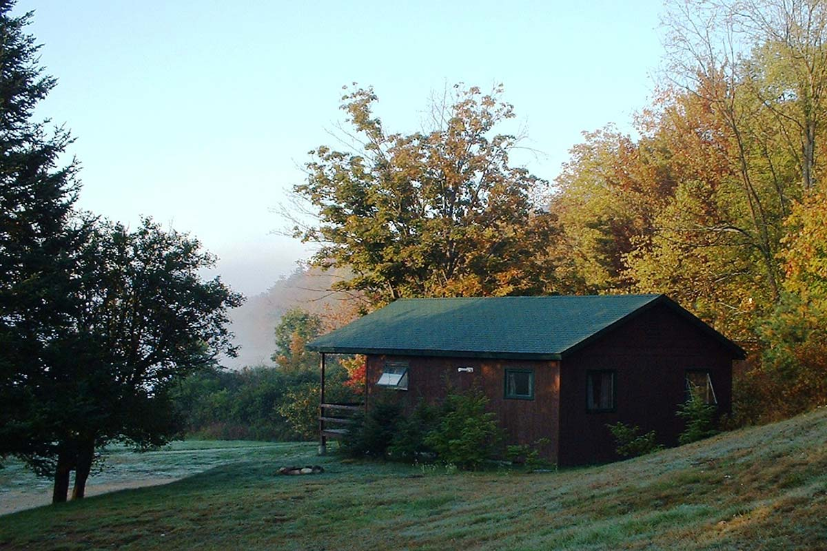 Cabin 3 with foggy lake