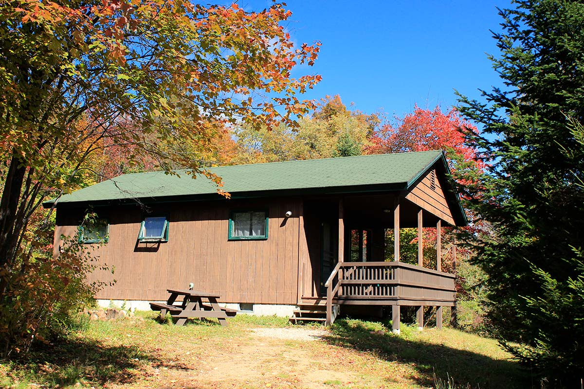 Cabin 5 with porch and picnic table