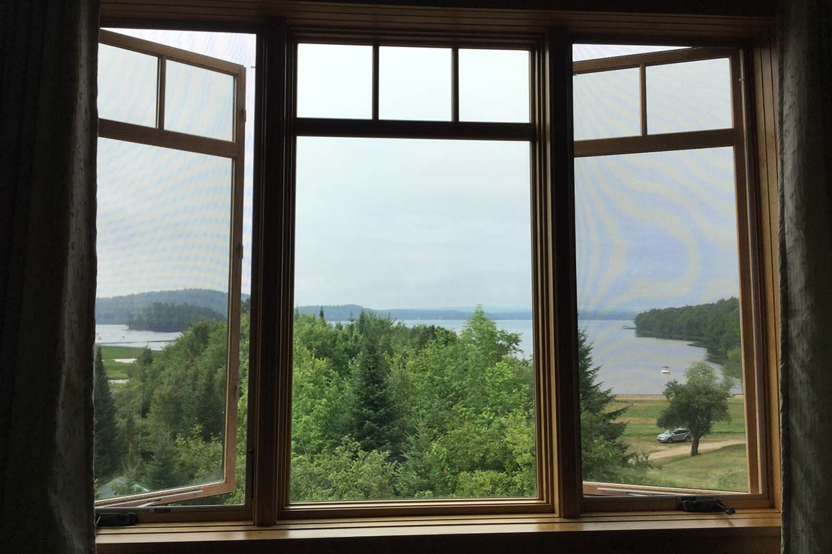 View of the lake from inside the inn